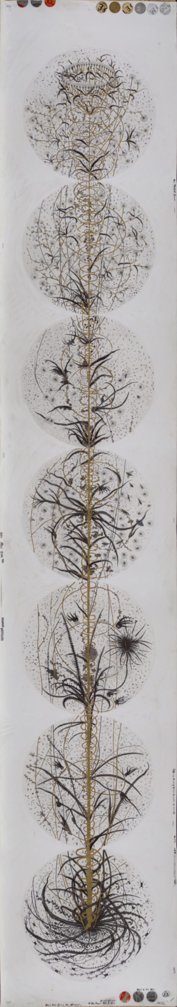 Hipkiss, Bulwark #11 from The Towers, 2017. Graphite, silver ink, silver tape, and metal leaf on Fabriano 4 paper, 89 × 16 inches, each. Courtesy of the artists.