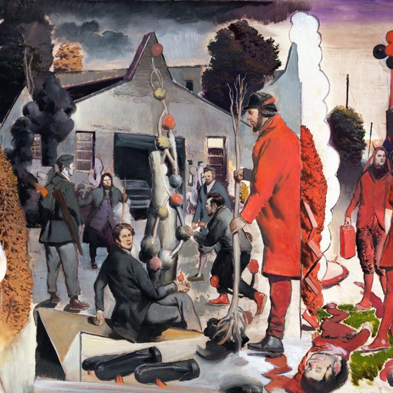 Neo Rauch, Der Stammbaum, 2017. Oil on paper, 66 ¼ × 81 ⅜ inches. Courtesy the artist, Galerie EIGEN + ART Leipzig/Berlin and David Zwirner © Neo Rauch, VG Bild-Kunst, Bonn / Artists Rights Society (ARS), New York