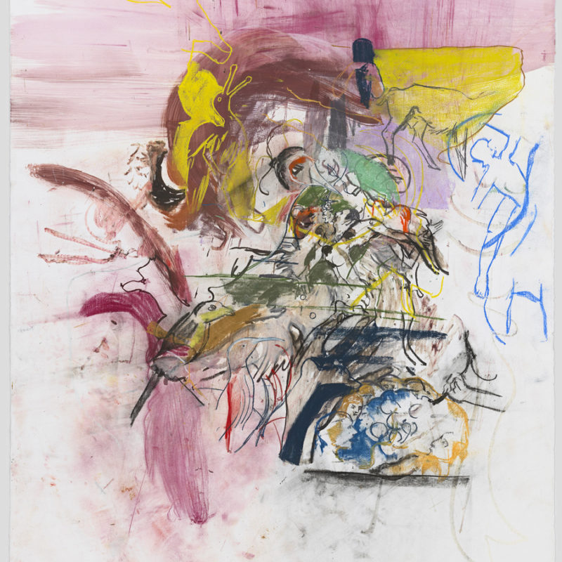 Cecily Brown, Untitled (After Bosch and Boldini), 2015. Watercolor and pastel on paper, 79 × 51 ¼ inches. Courtesy of the artist. Photograph by Genevieve Hanson.
