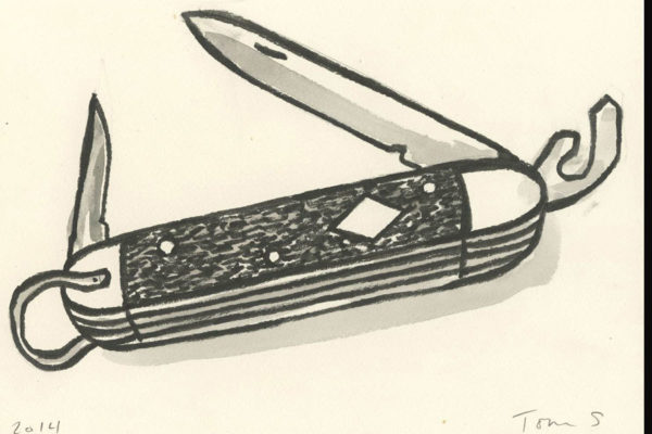 Thomas Slaughter, Boy Scout Jack Knife, 2014. Ink on paper 9 × 12 inches (22.86 × 30.48 cm). Courtesy of the artist.