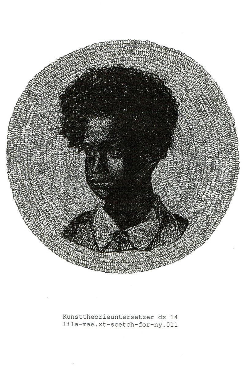Manfred Kirschner, Kunsttheorieuntersetzer - Lila-Mae, 2014. Drawing / C-print. 11 7/10 × 8 3/10 inches (29.69 × 21 cm).  Courtesy of the artist.